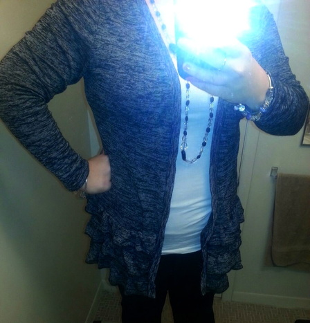 ruffled cardigan